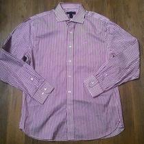 Mens Express Luxury Dress Shirt Stripe Purple L Photo