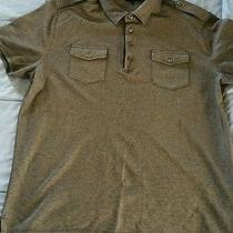 Mens Express Military Style Gray Polo Shirt Size Extra Large Euc Photo