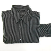 Mens Express Xxl 2xl 18 18 1/2 Black Silver Grey Striped Dress Shirt Photo