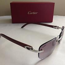 Mens Eyewear Authentic Cartier C Decor Wood Wood Platinum Finish Sunglasses Photo