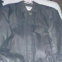 Mens' Fashion Elements Black Leather Jacket Size Large L Quilted Padded Lining Photo