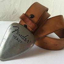Mens Fender Heavy Metal Guitar Pick Buckle Armani Exchange Brown Leather Belt L Photo