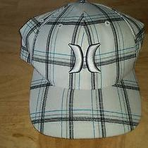 Mens Flex Fit Hurley Plaid Hat White Blue Black Multi-Color Flexfit Cap Lid L Xl Photo