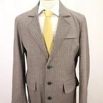 Mens Fossil 3 Button Blazer Sport Coat Striped Herringbone Brown Slim Large Photo