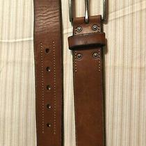 Mens Fossil Belt Size 34 Brown Leather Brass Buckle 1 1/2