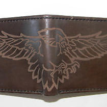 Mens Fossil Bifold Eagle Brown Leather Wallet Photo