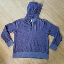 Mens Fossil Chocolate Brown 1/4 Zip Retro Hoodie Sweatshirt Jacket Xlarge Photo