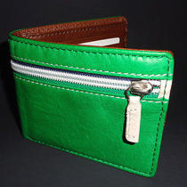 Mens Fossil Syd Bifold Green Leather Wallet Photo