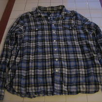 Mens Gap Button Down Blue Plaid Shirt Size Xl Photo