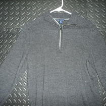Mens Gap Extra Fine 100% Merino Wool Gray Pullover Half Zipper Sweater M Photo