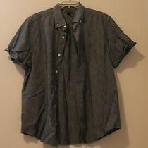 Mens Gap Large Blue Chambray Short Sleeve Button Up Shirt Solid Collar Photo