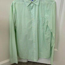 Mens Gap Long Sleep Button Down Shirt Green 100% Cotton Size Small Photo