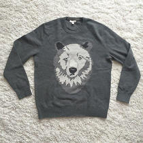 Mens Gap Wool Sweater Polar Bear Graphic L Gray Crewneck Photo