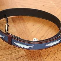 Mens Genuine Columbia Brown Leather & Blue Fabric W/fish Design  Belt   40   Photo