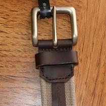 Mens Genuine Columbia Brown Leather & Stone Woven Fabric Belt 38 42 44    Photo