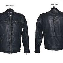 Mens Genuine Leather Jacket Cooper Lamb Nappa Gray Olive Biker Jacket Size L New Photo