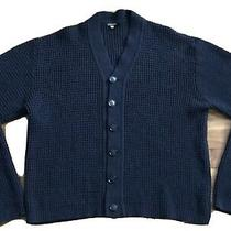 Mens Giorgio Armani Cardigan Sweater Sz 50 Navy Blue Made in Italy Photo