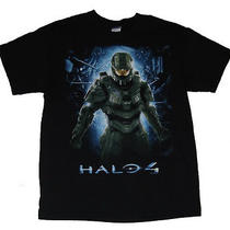 Mens Graphic T Shirt Halo 4 Master Chief Black Cotton Short Sleeve Size L New Photo