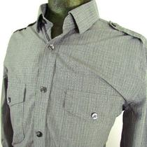Mens Grey Tattersall Check Express Casual Dress Shirt Modern Fit L/s M 15 15.5 Photo