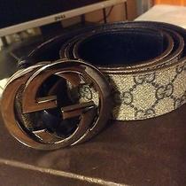 Mens Gucci Belt With Interlocking G Buckle Beige/blue Photo