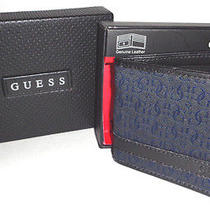 Mens Guess Bifold Black/blue Wallet With Original Gift Box Photo