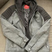 Mens Guess Charcoal and Black Faux Leather Jacket Size Xs Removable Hood Photo