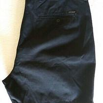 Mens Guess Golf Dress Shorts Size 38 Pleated Front Pockets Black 100% Cotton Photo