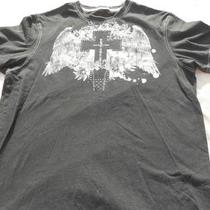 Mens Guess Graphic Tee Cross and Wings Black Size M Photo
