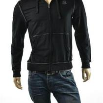 Mens Guess Marciano Hoodie Gunnar L/s Black Full Zip Sweatshirt Jacket Sz M New Photo