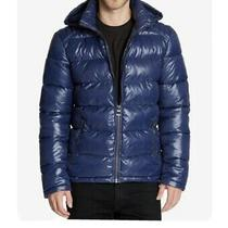 Mens Guess Puffar Jacket Blue Photo