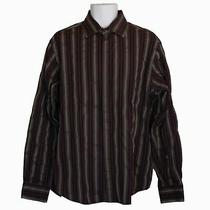 Mens Guess Red Silver Striped Button Down Shirt Size Xl Photo