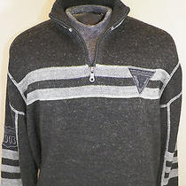 Mens Harley Davidson Motorcycles 1/4 Zip Sweater Pullover Grey & Black Xl Primo Photo