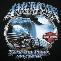 Mens Harley Davidson Motorcycles American Niagara Falls Ny Waterfa T-Shirt Large Photo