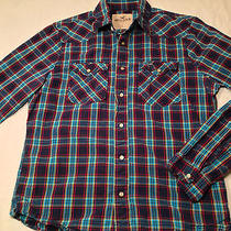 Mens Hco Navy Red Turquoise Plaid Hollister Mother of Pearl Snap Shirt Sz Large Photo