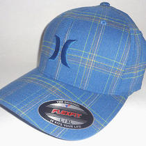 Mens Hurley Blue Plaid Hat Plaid Flex Fit Fitted Cap Size L/xl Photo