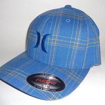 Mens Hurley Blue Plaid Hat Plaid Flex Fit Fitted Cap Size S/m Photo