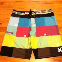 Mens Hurley Boardshorts Swim Trunks Size 38 Bright Colors Silver Thread Photo