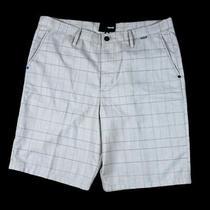 Mens Hurley Flat Front Tan Plaid Shorts Size 36 Photo