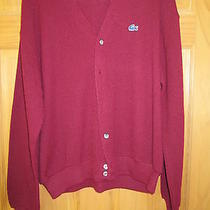Mens Izod Lacoste Button-Up Red Sweater Size Xl Excellent Condition Photo