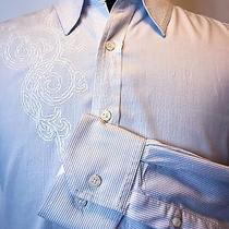 Mens J Campbell Blue Striped Fitted Long Sleeve Casual Dress Shirt Xl Photo