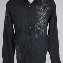 Mens J Campbell Embroidered Rock Star Punk Grunge Dress Shirt Black Sz Xxl 2xl Photo