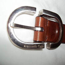 Mens Kenneth Cole Double Silver Belt Italian Leather New York 28