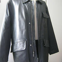 Mens Kenneth Cole Jacket Coat Leather Front / Sleeves & Back Other Material Sz M Photo