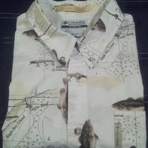 Mens L Columbia Pfg River Lodge Button-Front Casual Shirt Photo