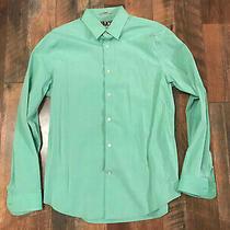 Mens L Express 1mx Fitted Long Sleeve Button Down Dress Shirt Green 16-16 1/2 Photo