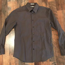 Mens L Express 1mx Grey Long Sleeve Button Down Dress Shirt Fitted 16-16 1/2 Photo