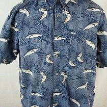 Mens L Large Columbia Sportswear Button Front Shirt Awesome Fish Print Photo
