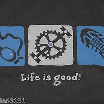 Mens L Life Is Good Black Elemental Triathlon Swim Bike Run S/s Tee Shirt Nwt Photo