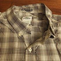 Mens Lacoste 46 3xl Brown Plaid Slim Fit Button Front Shirt Ch1788 Long Sleeve  Photo