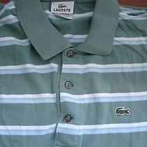Mens Lacoste Polo Shirt Green Striped Large  6 Photo
